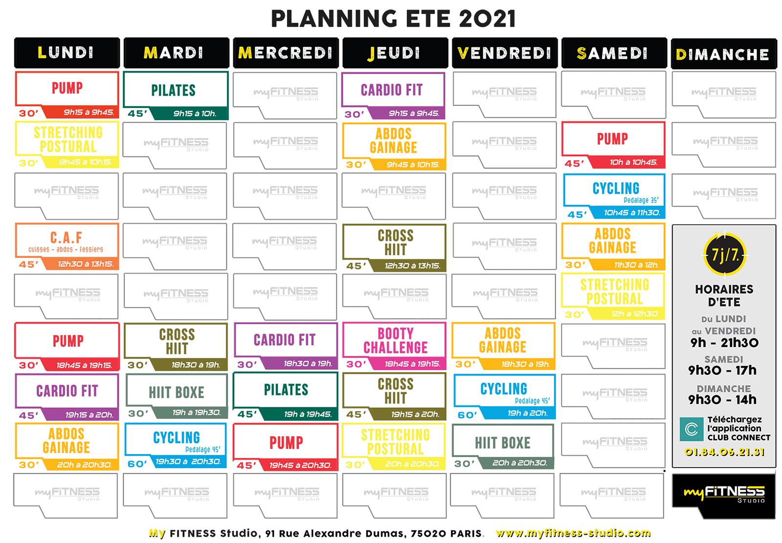 Planning été 2021