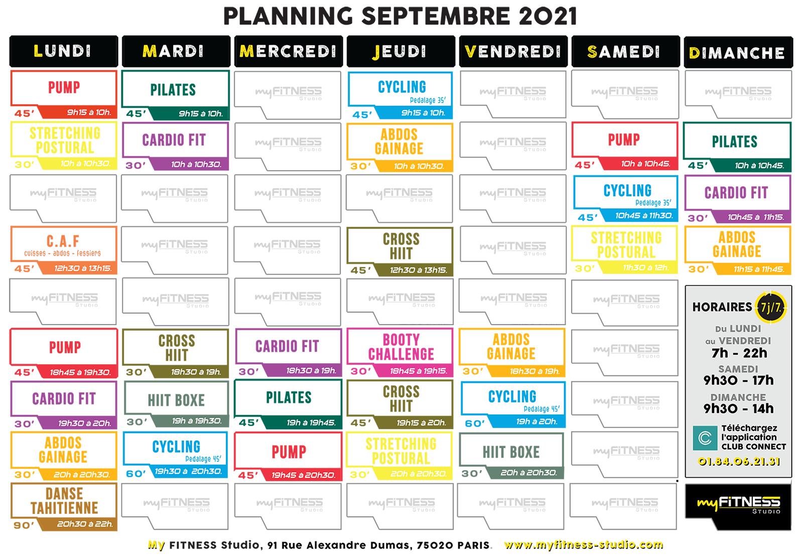 Planning Rentrée Septembre 2021